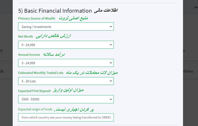 اطلاعات مالی در بروکر اوربکس