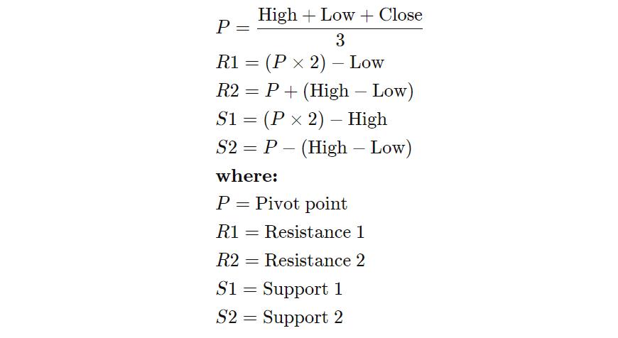فرمول محاسبه نقاط پیوت